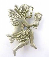 Cherub Fairy Angel With outstretched Chalice Pewter Brooch